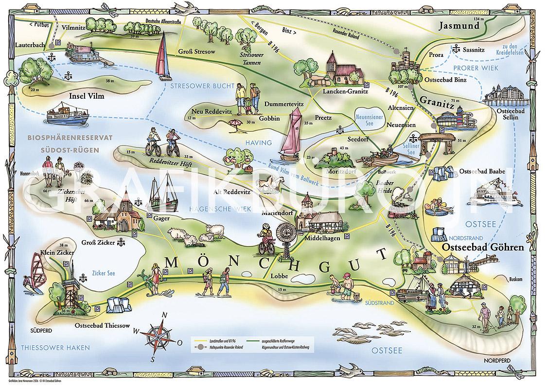 Karte Rügen.Grafikbüro Jn Jana Ninnemann Illustration Webdesign